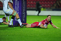 Steffan Hughes of Scarlets scores his sides second try during the European Rugby Challenge Cup Round 1 match between the Scarlets and London Irish at Parc Y Scarlets in Llanelli, Wales, UK. Saturday 16th November 2019