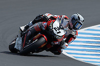 Jamie Stauffer (AUS) riding the Honda CBR1000RR of the Team Honda Racing rounds turn 6 during a qualifying session on day one of round one of the 2013 FIM World Superbike Championship at Phillip Island, Australia.