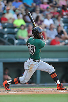 Shortstop Kelvin Beltre (29) of the Augusta GreenJackets bats in a game against the Greenville Drive on Thursday, June 9, 2016, at Fluor Field at the West End in Greenville, South Carolina. Augusta won, 8-2. (Tom Priddy/Four Seam Images)