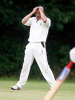 K Desai of Harrow is in disbelief during the Middlesex County League Division two game between Highgate and Harrow at Park Road, Crouch End on Sat Jun 25, 2011