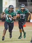 Torrance, CA 10/09/15 - Cameron Dillon (South #44) and Gabe Zuniga (South #13) in action during the Torrance vs South High varsity football game.  South defeated Torrance 24-21.