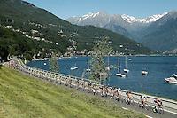 Picture by Pier Maulini/SWpix.com 27/05/2015 Cycling - Giro d'Italia - 27/05/2015 - Stage Seventeen - Tirano - Lugano ( Switzerland )<br /> copyright picture - Simon Wilkinson - simon@swpix.com<br /> Transit on Lake of Como
