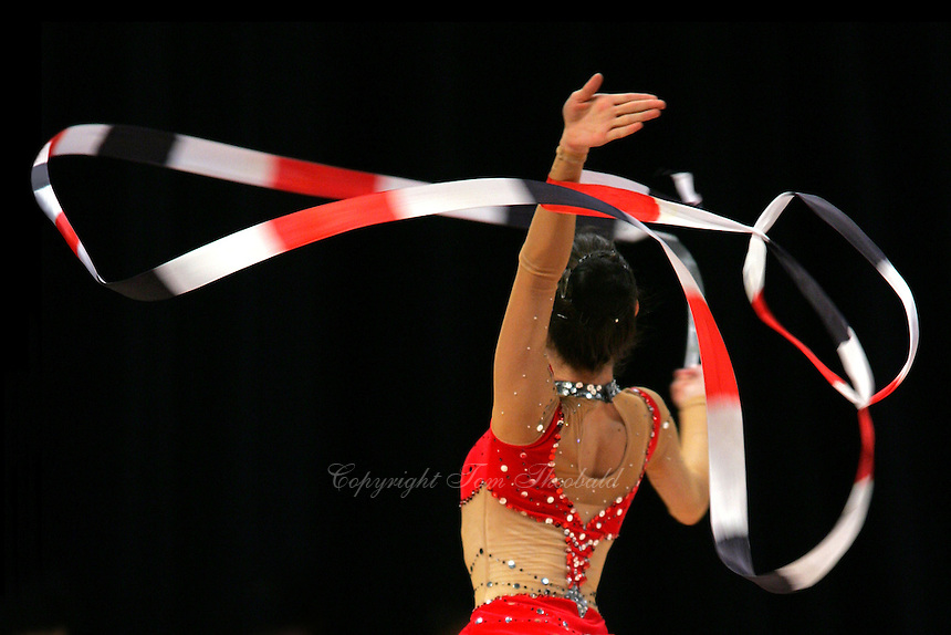 Stela Sultanova of Bulgaria turning with ribbon at World Games from Duisburg, Germany on July 21, 2005.  Event finals in rhythmic gymnastics are only held at World Games. <br />(Photo by Tom Theobald)