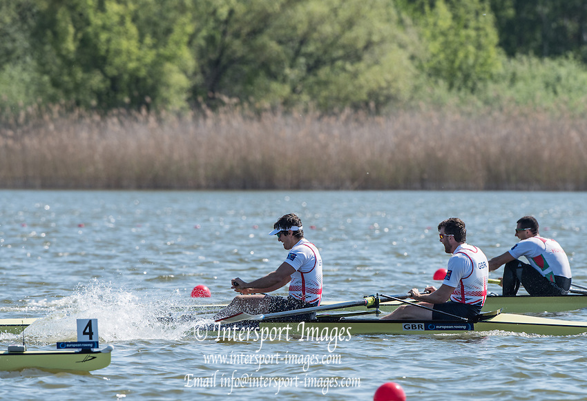 Brandenburg. GERMANY. Silver medalist Men's Pair, Bow, Alan SINCLAIR and Stewart INNES, awards dock,<br /> 2016 European Rowing Championships at the Regattastrecke Beetzsee<br /> <br /> Sunday  08/05/2016<br /> <br /> [Mandatory Credit; Peter SPURRIER/Intersport-images]