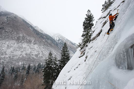 Trent Nelson  |  The Salt Lake Tribune.Jay Williams ice climbing at the Great White Icicle in Little Cottonwood Canyon, Tuesday, December 29, 2009.