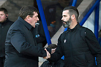 29th December 2019; McDairmid Park, Perth, Perth and Kinross, Scotland; Scottish Premiership Football, St Johnstone versus Ross County; St Johnstone  manager Tommy Wright shakes hands with Ross County co-manager Stuart Kettlewell  - Editorial Use