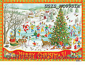 Ingrid, CHRISTMAS SYMBOLS, WEIHNACHTEN SYMBOLE, NAVIDAD SÍMBOLOS,lake,ice skating paintings+++++,USISMC09S1A,#xx#