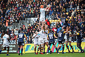 10th September 2017, Sixways Stadium, Worcester, England; Aviva Premiership Rugby, Worcester Warriors versus Wasps; Kearnan Myall of Wasps gets up high to collect their own line out ball