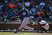 SAN FRANCISCO, CA - OCTOBER 4:  Nolan Arenado #28 of the Colorado Rockies bats against the San Francisco Giants during the game at AT&T Park on Sunday, October 4, 2015 in San Francisco, California. Photo by Brad Mangin