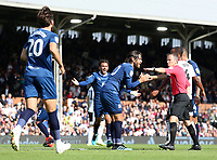 Blackburn Rovers' Danny Graham pleads with Keith Stroud after a decision goes against them<br /> <br /> Photographer David Shipman/CameraSport<br /> <br /> The EFL Sky Bet Championship - Fulham v Blackburn Rovers - Saturday 10th August 2019 - Craven Cottage - London<br /> <br /> World Copyright © 2019 CameraSport. All rights reserved. 43 Linden Ave. Countesthorpe. Leicester. England. LE8 5PG - Tel: +44 (0) 116 277 4147 - admin@camerasport.com - www.camerasport.com