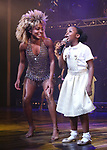 "Adrienne Warren and Skye Dakota Turner during the ""Tina - The Tina Turner Musical"" Opening Night Curtain Call at the Lunt-Fontanne Theatre on November 07, 2019 in New York City."