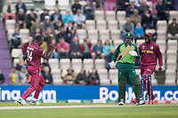 Kemar Roach (West Indies) believes he has his man as Quinton de Kock  (South Africa) immediately reviews during South Africa vs West Indies, ICC World Cup Cricket at the Hampshire Bowl on 10th June 2019