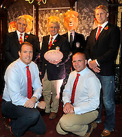 London, England. Andy Irvine, British & Irish Lions 2013 Head Coach Warren Gatland, Lewis Moody  and Martin Bayfield, Phil Vicery at the launch of the Thomas Pink British & Irish Lions Collection as the new Official Outfitters for the iconic rugby team at  The Pink Lion, London, England on October 30. 2012.