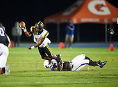 St. Frances Academy Panthers quarterback Isaiah Robinson (3) is hit by Jordan Anthony (4) as he throws resulting in an incomplete pass during a game against the IMG Academy Ascenders on November 12, 2016 at IMG Academy in Bradenton, Florida.  IMG defeated St. Frances 38-0.  (Mike Janes Photography)
