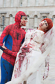 London, UK. 27 April 2014. Zombie Spider-Man and Anna Maria. Sci-Fi fans gathered in the Courtyard of Somerset House, London, and dressed up as their favourite science fiction character ahead of a parade through London. This 4th annual parade was organised by Sci-Fi London 14, the London International Festival for Science Fiction and Fantastic Film which runs unil May 4th.