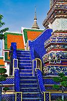 Steps leading up the Phra Si Sanphet Chedi, Bangkok, Thailand