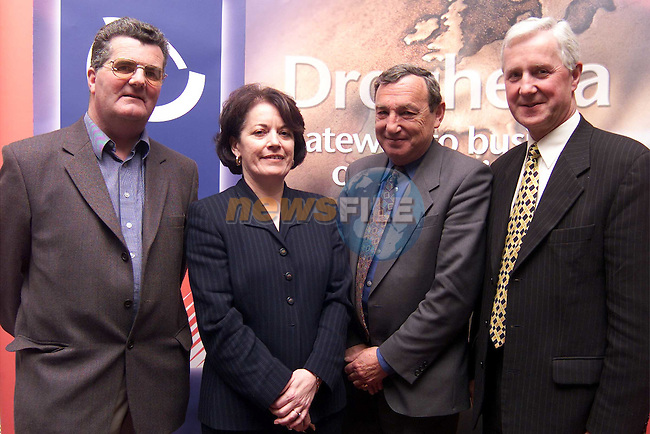 Jim Corcoran, chairman Drogheda Chamber of Commerce retail Committee, Joyce Irwin, manager Retail Banking Ulster bank, Tommy Williamson, manager Drogheda Town Centre and Ronald Strong, manager Ulster Bank Drogheda. at Euro Changeover meeting in the Westcourt Hotel..Picture: Paul Mohan/Newsfile