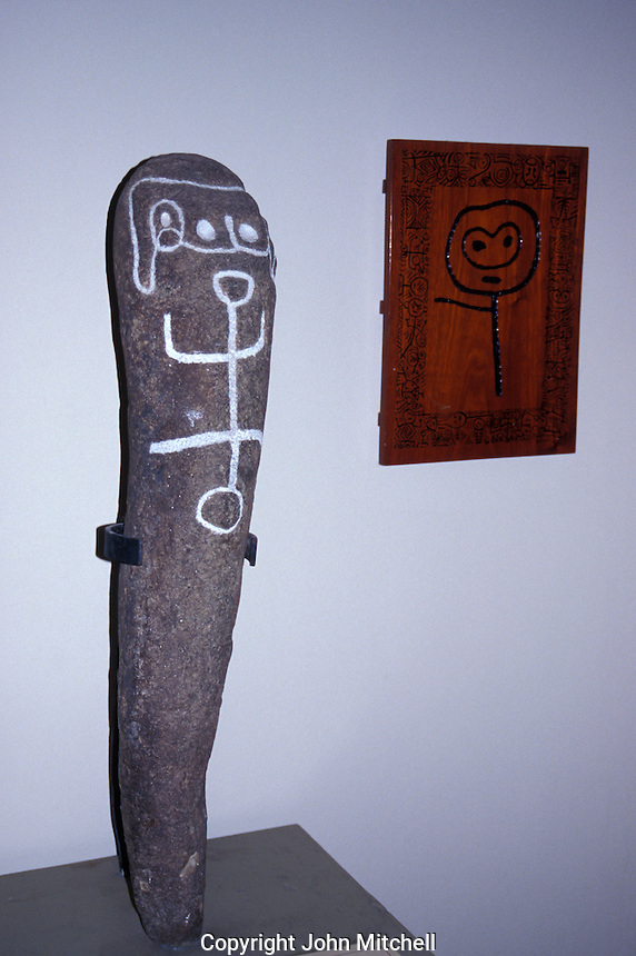 Taino (Arawak) petrpglyph in the  Museum of the Dominican Man or Museo del Hombre Dominicano in Santo Domingo, Dominican Republic