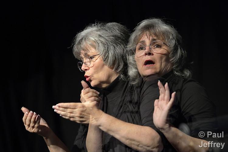 Mary E. Harris provides American Sign Language interpretation at the 2012 United Methodist General Conference in Tampa, Florida. Harris is a member of Conway United Methodist Church in Orlando.This image is a double exposure.