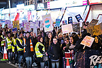 © Joel Goodman - 07973 332324 . 22/02/2018 . Manchester , UK . The march passes through Rusholme . 100s of protesters , campaigning against the sexual harassment, abuse, rape and victim-blaming suffered by women, hold a Reclaim the Night march and rally from Owens Park in Fallowfield to the Manchester Academy on Oxford Road . Photo credit : Joel Goodman