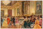 A ball at the French court -  at the Palais des Tuileries,  Paris, dancers are presented  to the Empress Eugenie        Date: 1863