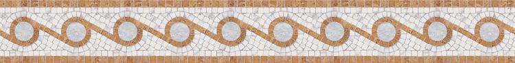 "5"" Omega border, a hand-cut stone mosaic, shown in polished Giallo Reale, Calacatta Tia, and Celeste."