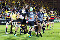 Damien Lagrange of La Rochelle jubilates as he scores a try during the European Challenge Cup semi final between La Rochelle and Gloucester on April 22, 2017 in La Rochelle, France. (Photo by Vincent Michel/Icon Sport)