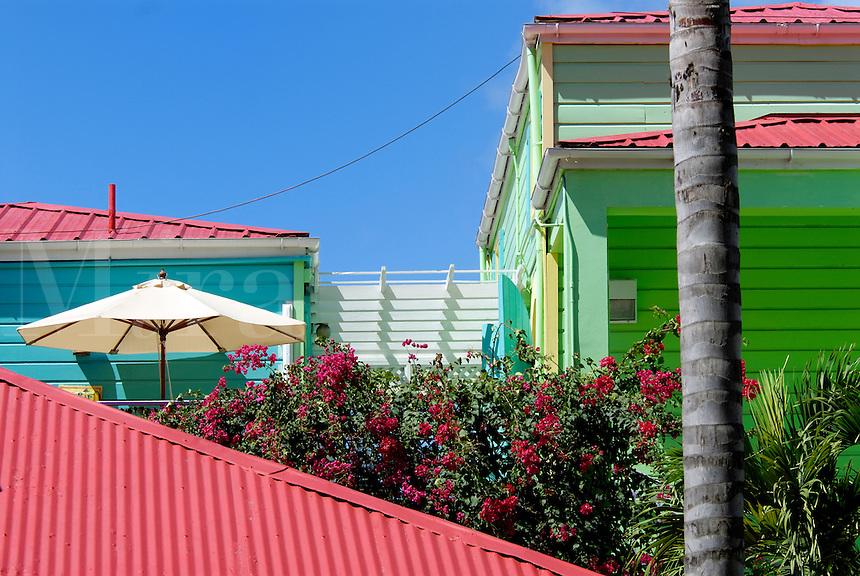 Tropical buildings. US Virgin Islands, St John, Cruz Bay
