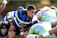 Anthony Perenise of Bath Rugby prepares to scrummage against his opposite number. Aviva Premiership match, between Bath Rugby and Newcastle Falcons on September 23, 2017 at the Recreation Ground in Bath, England. Photo by: Patrick Khachfe / Onside Images