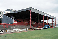 The main stand at Doncaster Rovers FC Football Ground, Belle Vue Stadium, Doncaster, South Yorkshire, pictured on 14th July 1991