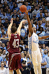 06 November 2015: North Carolina's Kennedy Meeks (3) blocks a shot by Guilford's Will Freeman (43). The University of North Carolina Tar Heels hosted the Guilford College Quakers at the Dean E. Smith Center in Chapel Hill, North Carolina in a 2015-16 NCAA Men's Basketball Exhibition game. UNC won the game 99-49.