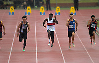 Edward Osei-Nketia (Scots College) competes in the senior boys' 100m final.2019 New Zealand Secondary Schools Athletics Championships at Newtown Park in Wellington, New Zealand on Sunday, 8 December 2019. Photo: Dave Lintott / lintottphoto.co.nz