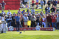 Sergio Garcia (Team Europe) on the 9th tee during the Friday afternoon Fourball at the Ryder Cup, Hazeltine national Golf Club, Chaska, Minnesota, USA.  30/09/2016<br /> Picture: Golffile | Fran Caffrey<br /> <br /> <br /> All photo usage must carry mandatory copyright credit (&copy; Golffile | Fran Caffrey)