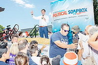 South Bend mayor and Democratic presidential candidate Pete Buttigieg speaks at the Political Soapbox at the Iowa State Fair in Des Moines, Iowa, on Tues., Aug. 13, 2019.