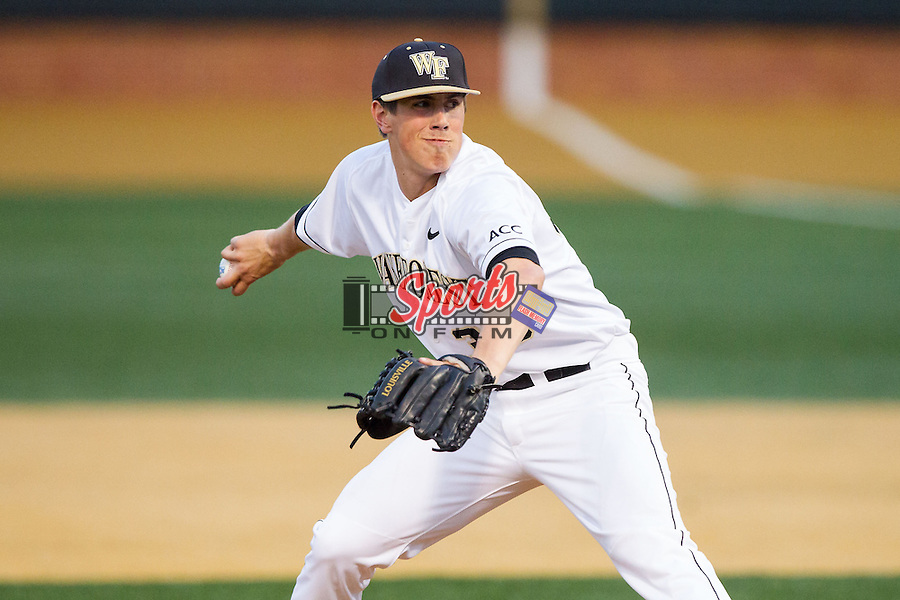 Wake Forest Demon Deacons relief pitcher Parker Dunshee (36) in action against the High Point Panthers at Wake Forest Baseball Park on April 2, 2014 in Winston-Salem, North Carolina.  The Demon Deacons defeated the Panthers 10-6.  (Brian Westerholt/Sports On Film)