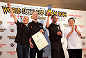 "March 8, 2013, Chiba, Japan - Staff of the restaurant ""Saiko"" from Sweden receive the ""Most Outstanding Sushi Restaurant Award"" at the World Sushi Cup Japan 2013, Restaurant Competition in Makuhari. Word's top class Sushi Chefs from overseas and Japan attend the ""World Sushi Cup Japan 2013"" to show their creativity and inspiration for making sushi. The competition evaluates the sanitary and quality control management and methods as well as localizing taste and design. The contest was held fist time ever in conjunction with FOODEX Japan 2013. (Photo by Rodrigo Reyes Marin/AFLO).."
