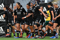 The Black Ferns celebrate Ruahei Demant's try during the International Women's Rugby match between the New Zealand All Blacks and Australia Wallabies at Eden Park in Auckland, New Zealand on Saturday, 17 August 2019. Photo: Simon Watts / lintottphoto.co.nz