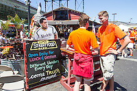 San Francisco, CA - Sunday, June 29, 2014: Dutch and Mexico fans gathered at the SOMA StrEat Food Park to watch the Netherlands vs. Mexico round of 16 World Cup match.