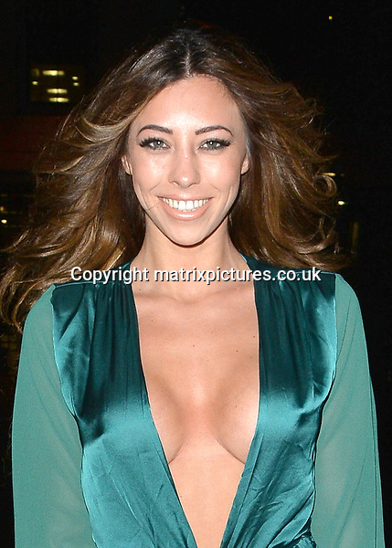 NON EXCLUSIVE PICTURE: MATRIXPICTURES.CO.UK<br /> PLEASE CREDIT ALL USES<br /> <br /> WORLD RIGHTS <br /> <br /> Model and former TOWIE star Pascal Craymer is pictured during a night out at Libertine Club, in London.<br /> <br /> Wearing an extremely revealing teal dress, the 28-year-old suffers a major wardrobe malfunction when her dress blows in the wind and exposes a little more than she probably would have liked, after daring to go not only braless, but commando too!<br /> <br /> JANUARY 28th 2016<br /> <br /> REF: LTN 16227