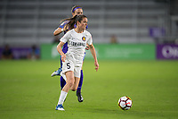 Orlando, FL - Saturday March 24, 2018: Utah Royals forward Kelley O'Hara (5) is pressured by Orlando Pride midfielder Christine Nairn (7) during a regular season National Women's Soccer League (NWSL) match between the Orlando Pride and the Utah Royals FC at Orlando City Stadium. The game ended in a 1-1 draw.