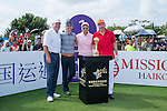 (L-R) Mark O'Meara, Luis Garcia, Tenniel Chu, and Boris Becker at the 1st hole during the World Celebrity Pro-Am 2016 Mission Hills China Golf Tournament on 22 October 2016, in Haikou, China. Photo by Marcio Machado / Power Sport Images