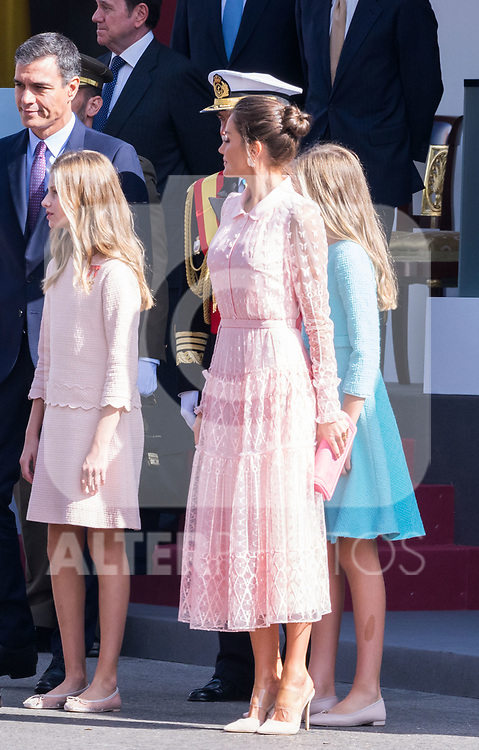 President Pedro Sanchez, Princess of Asturias Leonor, Infanta Sofia and Queen Letizia during the Military parade because of the Spanish National Holiday. October 12, 2019.. (ALTERPHOTOS/ Francis Gonzalez)