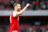 Goalscorer Calum Chambers of Arsenal salutes fans during the Premier League match between Arsenal and Aston Villa at the Emirates Stadium, London, England on 22 September 2019. Photo by Carlton Myrie / PRiME Media Images.