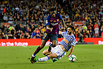Ousmane Dembele of FC Barcelona (L) in action against Raul Rodriguez Navas of Real Sociedad (R) during the La Liga match between Barcelona and Real Sociedad at Camp Nou on May 20, 2018 in Barcelona, Spain. Photo by Vicens Gimenez / Power Sport Images