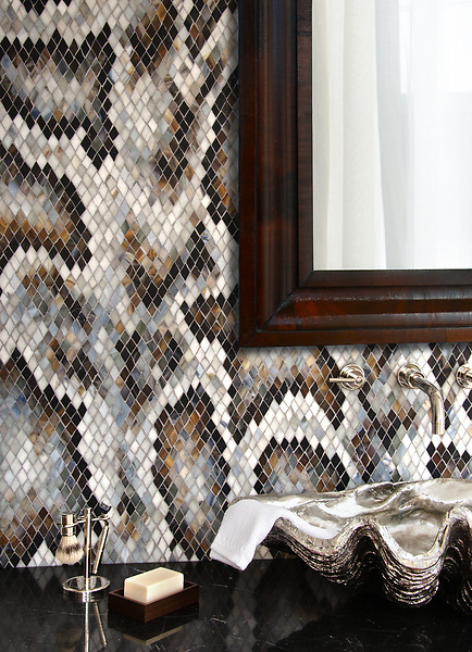 Python, a hand-cut glass mosaic shown in Lavastone, Alabaster, Pearl, Tortoise Shell, Labradorite, Moonstone, Schist, and Jasper Sea Glass™, inspired by reticulated python skin, is part of the Broad Street™ collection by New Ravenna.