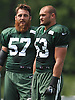 Trevor Reilly #57 of the New York Jets, left, stands alongside #53 Mike Catapano during training camp at Atlantic Health Jets Training Center in Florham Park, NJ on Wednesday, Aug. 17, 2016.