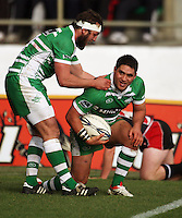 Manawatu's Doug Tietjens congratulates Francis Bryant on his try during the Air NZ Cup rugby match between Manawatu Turbos and Counties-Manukau Steelers at FMG Stadium, Palmerston North, New Zealand on Sunday, 2 August 2009. Photo: Dave Lintott / lintottphoto.co.nz
