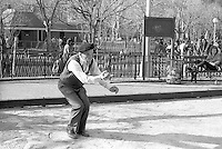New York, NY 7 March 1987 - Alfred Levitt (1894-2000) playing Petanque in Washington Square Park