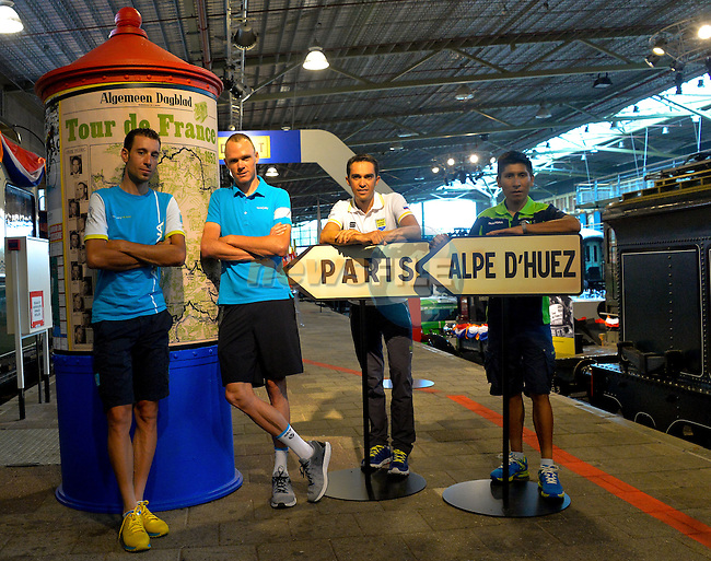 The race favourites Vincenzo Nibali (ITA) Astana, Chris Froome (GBR) Team Sky, Alberto Contador (ESP) Tinkoff-Saxo and Nairo Quintana (COL) Movistar in relaxed mood before the start of the 2015 Tour de France in Utrecht, Netherlands. 2nd July 2015.<br /> Photo: ASO/B.Bade/Newsfile