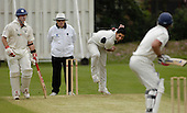 SNCL cricket Prem Div - Clydesdale V Grange at Titwood, Glasgow - Clydesdales' Mohammed Afzal bowls to Warren McSkimming (who posted 114 for the Edinburgh side) past umpire Billy McPate and Granges' Neil McCallum ... Picture by Donald MacLeod 17.05.08